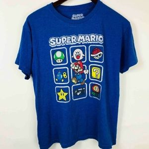 Super Mario Mens T-Shirt Royal Blue Graphic Cotton